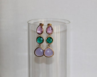 Free Shipping. Polished Gold Earrings with three Crystal Faceted Stone Pendant: Light Violet, Emerald Green and Violet. Hand made
