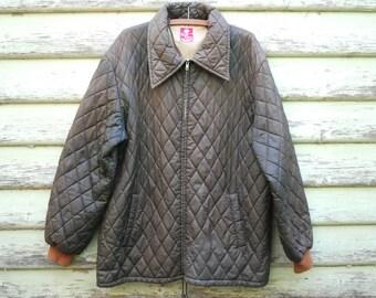 Vintage 70s Mens Jacket Brown Quilted Checkered Retro Lapels Rain Coat Vtg 1970s Size XL