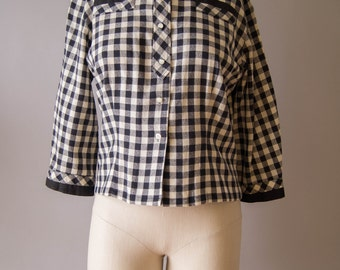 vintage 1950s blouse / 50s gingham shirt / small