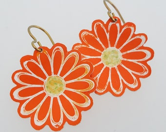 Orange Daisy Earrings in Anodised Aluminium