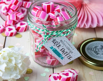 Boozy Prosecco Elderflower Rock Sweets Jar - Gift for Her -Party Favour - Food Gift - Foodie - Wedding Favour - Valentines - Sweets - Hen Do