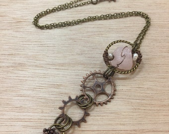 Wire Wrapped Rose Quartz and Gear Necklace Steampunk Jewelry Apocalyptic Steampunk Gypsy Boho Jewelry Cosplay FAST Shipping FREE Gift Wrap!