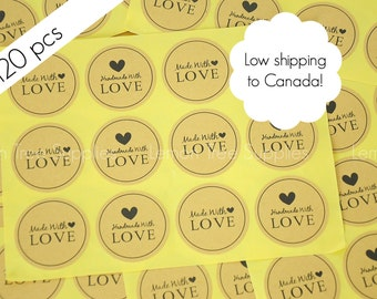 Handmade stickers, handmade with love stickers, kraft handmade stickers, kraft stickers, handmade with love - pack of 120