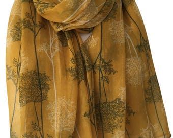 Tree Print Scarf, Mustard Yellow Scarf with White and Dark Green Trees, Ladies Floral Wrap Shawl