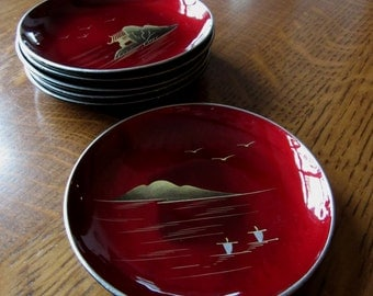 """Vintage Mid Century Red Lacquered Appetizer Plates, Six, Scenes of Japan, Asian, Hors D'Ouevres,Retro Entertaining,Small Party Dishes,4-3/4"""""""