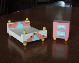 Unique Art Deco Style Handmade Doll House Bed & Night Stand Set, Vintage Dollhouse Miniatures, Wood, 1920's Bedroom Decor, Pink Blue Yellow