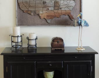 "Large (37"" X 25"") Reclaimed Wood Art Wooden USA Map.  Wooden United States Map"