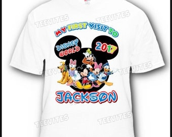 My First Visit to Disney World Disneyland with Mickey Mouse, Minnie Mouse, Donald Duck, Daisy, Pluto, Goofy Vacation T-Shirt