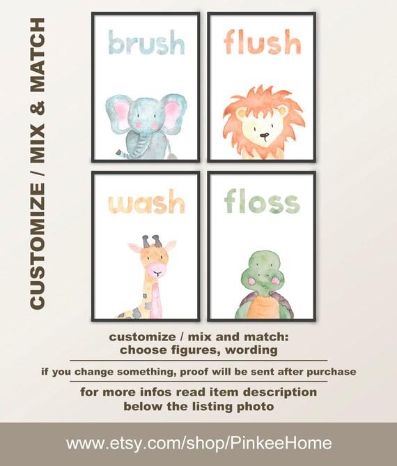 Kids Safari Bathroom Set: Safari Theme Kids Bathroom Decor Brush Flush Wash Floss Kids