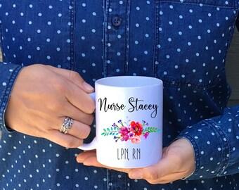 Nurse Customized Coffee Mug, RN, 11 oz or 15 oz coffee mug // Personalized Nurse Mug // Nurse Appreciation Mug Dishwasher Safe!