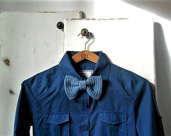 Sparkling bow tie brooch, crochet bow tie, women accessories, denim blue and gold, assorted colors