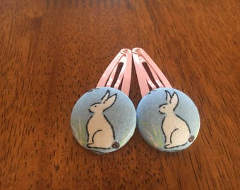 Pink or Blue Fabric bunny hair clips/Easter gift