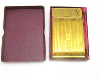 Elgin American Beauty Cigarette Case With Attached Lighter In Original Pouch And Box By Elgin Vintage Collectible Gift Item 2418