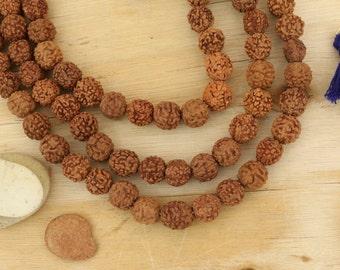 5 mm Rudraksha beads • Indian seeds • Shiva teardrop beads • Natural Bodhi seed beads • Yoga mala beads Buddhism Jewelry