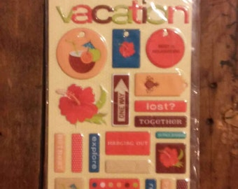 Making Memories- Vacation- Summer Fun-44 Puffy Stickers/2 Sheets- Brand New