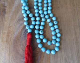 108 Bead Turquoise Mala, Mala Beads, Mala Necklace, Long Necklace, Prayer Beads, Yoga Jewelry, Japa Mala, Meditation Beads, Knotted Mala