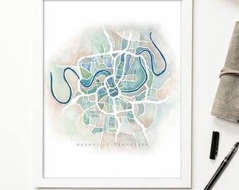 Nashville Watercolor Map Print