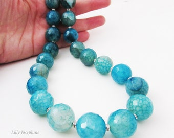 Chunky Blue Agate Nugget Gemstone Necklace, Chunky Blue Gemstone Necklace, Turquoise Blue Big Bead Necklace, Blue Chunky Bead Necklace