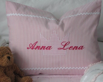 Pillow/cushion stripefabric/crown, personalized