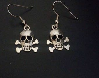Skull & Crossbone Earrings - Silver Finish