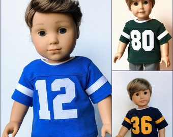 18 Inch Boy Doll Clothes - Custom Numbered Sports Jersey with Short Sleeves: Choose Your Color and Number