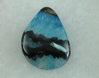 Stunning Blue and Black Druzy Crystal Agate Freeform Teardrop Pendant Bead