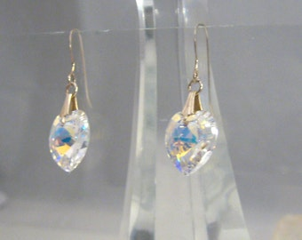 Golden Aurora Borealis Rainbow Hearts Vintage Style Hook Earrings Amazing Valentine, Gift, Heart,