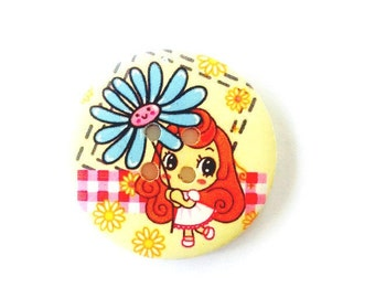50MM Button Featuring Little Girl with red hair and blue flower