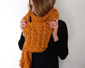 Chunky Knit Scarf - Giant Scarf - Open Ended Scarf - Chunky Scarf - THE BELLA - Extra Long Wool Blend Custom Colors