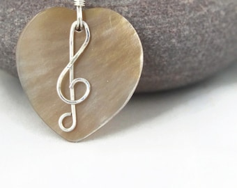 Love Music Necklace/Trebleclef Pendant/Musical Jewellery/Musician Necklace/Music Teacher Gift/Treble Clef Necklace/Silver Music Gift For Her