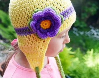Handmade Crochet hat for girls, Flowers hat, Yellow hat
