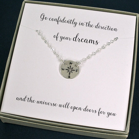 Graduation Gift, Compass Necklace, High School Graduation, New Job, Christmas Gifts for Students, Daughter Gift, Daughter Necklace, Jewelry