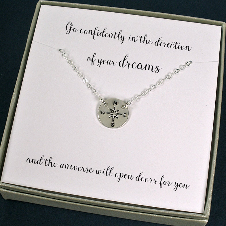 graduation gift compass necklace high school graduation new