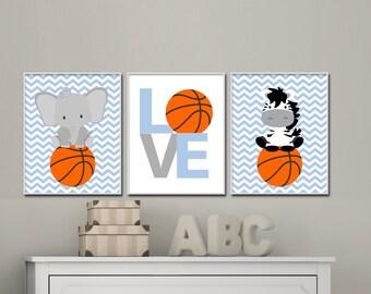 Baby boy nursery wall art. Baby animal sports art. Basketball nursery art prints suits boys bedroom decor, Basketball Animals - H115