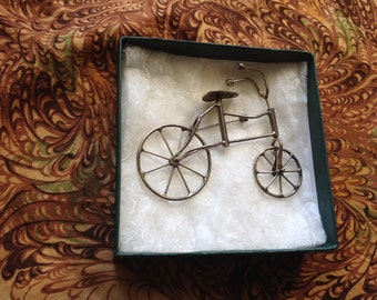 Articulated Silver Bicycle brooch pin Intricate Gift marked Sterling