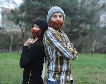 Crochet Beard Hat Adult Beanie Knit Yarn Mens Winter Hat interesting Gift For Men And Women