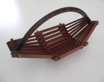 Teak wood fruit basket,wood basket,bread basket with handle