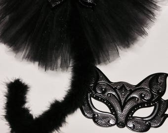Cat costume, black cat costume,adult cat costume, halloween cat costume, black cat tutu, black silver cat mask, adult black cat costume