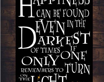 Dumbledore HARRY POTTER SIGN Decor Happiness Turn On The Light Quote Art Print Canvas