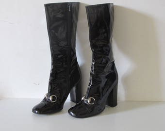 Vintage GUCCI 90s Tom Ford Collection Black Patent leather Horse bit High heels boots