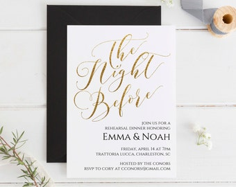 Gold Rehearsal Dinner Invitation, Editable Gold Rehearsal Dinner Invitation Printable, Rehearsal Invitation Template, Instant Download. WC3