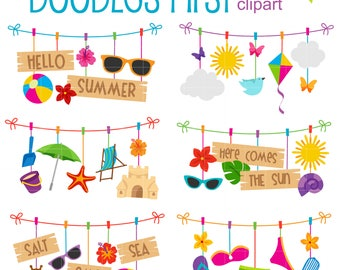 Summer Clothesline Digital Clip Art for Scrapbooking Card Making Cupcake Toppers Paper Crafts