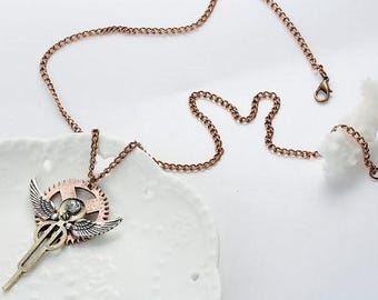 "Steampunk Necklace Link Curb Chain Antique Copper Angel Wing Gear Hollow Pendant With Clear Rhinestone - 22 6/8"" long"