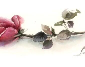 Rose ORIGINAL Watercolor Painting, single red rose flower painting, botanical painting, modern painting of rose