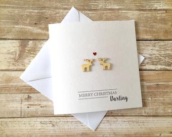 Personalised Luxury Christmas Card Reindeer / Love / Boyfriend / Girlfriend / Wife / Husband / Partner / Custom