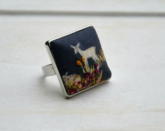 Deer in the Woods, Chunky, Square, Statement Ring with Hand Embroidered Detail