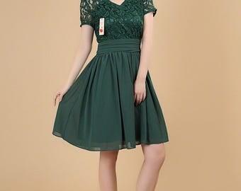 Green Lace Mini Dress with V Neck - Saphire Blue Lace Chiffon Dress - Fit N Flare Dress - White Lace Dress - Lace Bridesmaid Dress AS251