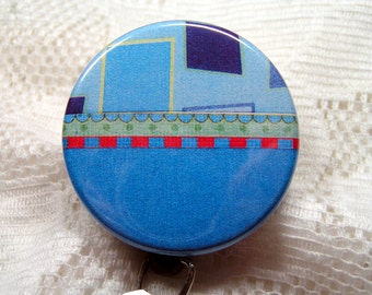 Bold blues on retractable id badge holder,vivid colored id badge reel,great Christmas gift for teacher/nurse/doctor...,id badge clip
