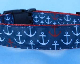 Medium Anchors Dog Collar