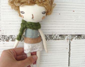 Art doll. Little doll. 19 cm